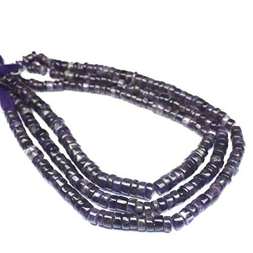 Beads Bazar Natural Beautiful jewellery 2 Strand Natural Amethyst Smooth Wheel Tyre Rondelle Gemstone Craft Beads 14