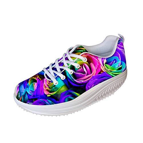 FOR U DESIGNS Vintage Pink Purple Floral Print Women's Walking Shoes Wedges Platform Sneakers US 9]()