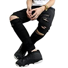 Jinmen Mens Hipster Hip hop Slim Fit Zipper Ripped Black Skinny Casual Pants