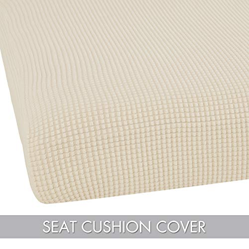 Deconovo Jacquard Spandex Cushion Covers Fitted Sofa Protector Cover Stretch Chair Cushion Slipcovers Beige