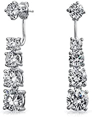 Graduated Cubic Zirconia CZ Drop Back And Front Stud Jacket Long Linear Earrings For Women Silver Plated Brass