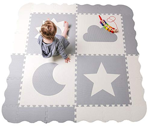 "Baby Play Mat Tiles - 61"" x 61"" Extra Large, Non Toxic Foam Baby Floor Mat - Grey & White Interlocking Playroom & Nursery Playmat - Safe & Protective for Infants & Toddlers from Childlike Behavior"