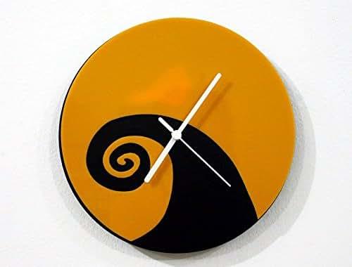 Nightmare Before Christmas Minimalist Film Silhouette - Black & Yellow - Wall Clock