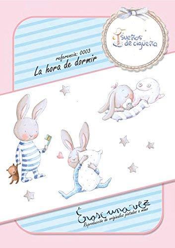 Vinilo infantil La hora de dormir////Sue/ños de Cigue/ña 150x100cm ni/ño ni/ña representacion pintura a mano