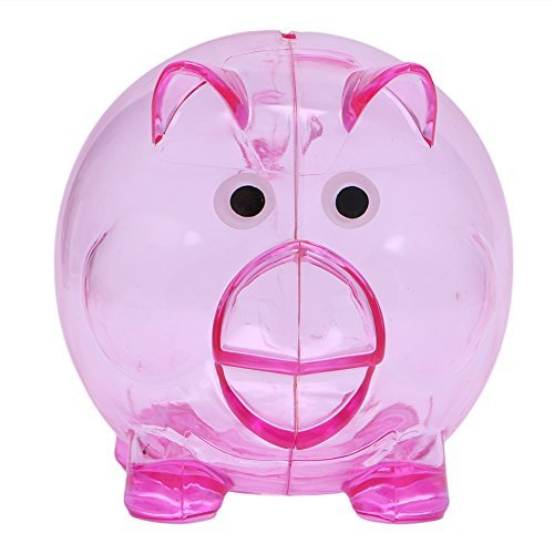 (Pink-day Plastic Clear Piggy Bank - Coin Money Cash Openable Saving Box for Kids - Lovely Pig Gift,)