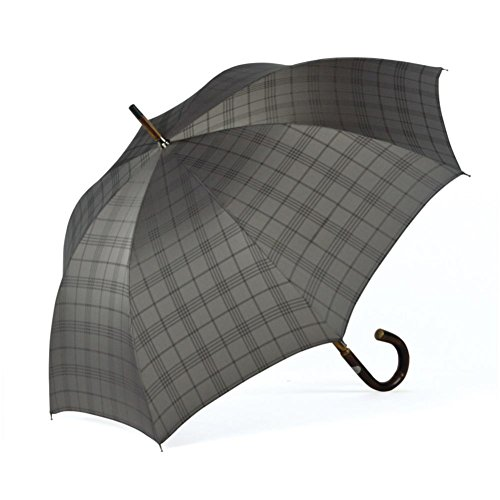 ShedRain Umbrellas Ombrelli Italian Stick Umbrella, Silver Plaid by ShedRain