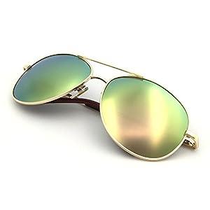 J+S Premium Military Style Classic Aviator Sunglasses, Polarized, 100% UV protection (Gold frame Silver Pink Mirro Lens - Medium)