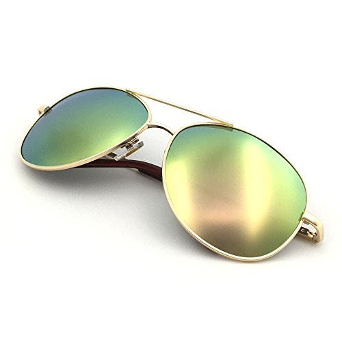 J+S Premium Military Style Classic Aviator Sunglasses, Polarized, 100% UV protection (Medium Frame - Gold Frame/Silver Pink Mirro Lens) by J+S