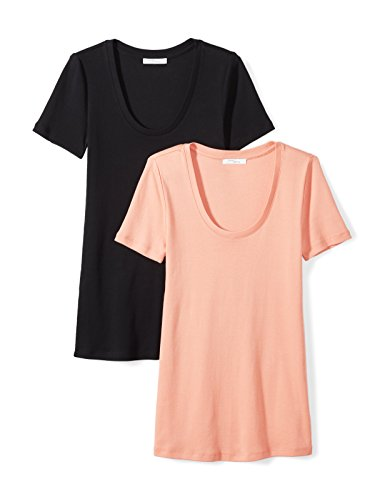 Daily Ritual Women's Midweight 100% Supima Cotton Rib Knit Short-Sleeve Scoop Neck T-Shirt, 2-Pack