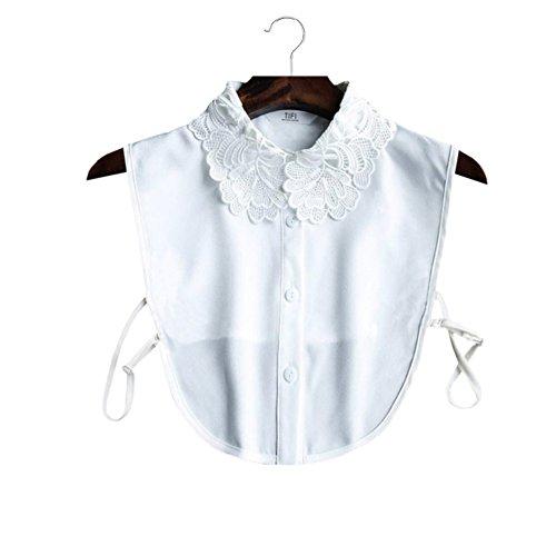 Gracelife Fake Collar Lace Flower Embroidery Half Shirt Detachable Chiffon Cotton False Collar (B)