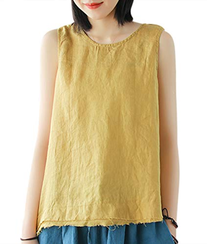 - YESNO Girls Casual Loose Linen Vest Summer Tank Tops Curved Layered Fringed Hem YP7