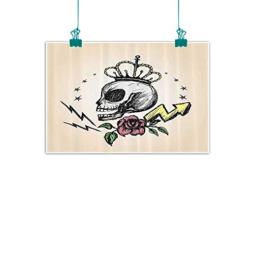 (funkky Skull Decor Art Oil Paintings Mexican Folk Art Inspired Skeleton with Crown and Rose Halloween Artsy Design Canvas Prints for Home Decorations 35