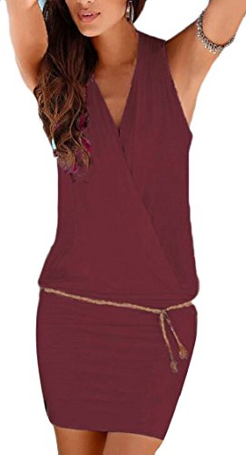 Couleur Jaycargogo Femmes Mode Sexy Sans Manches V-cou Solide Pellicule Moulante Vin Robe Rouge