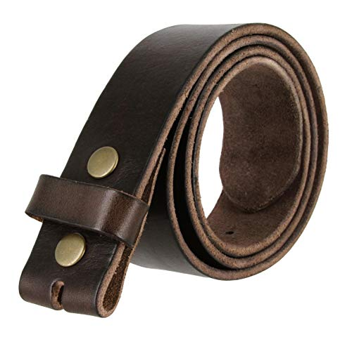 "BS-40 Vintage Style Full Grain 100% Leather 1-1/2"" Wide Belt Strap (Brown, 32)"