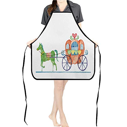 Jiahong Pan Cooking Kitchen Bib Aprons Carriage Pumpkin with Pockets ApronsK17.7xG26.6xB9 - Hat Lucy Love Chefs I