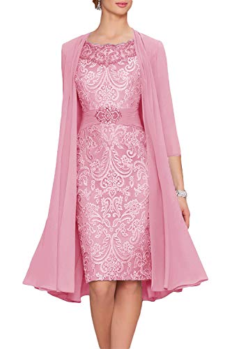 Newdeve Chiffon Mother of The Bride Dresses Tea Length Two Pieces with Jacket Dusty Pink