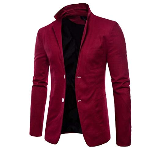 Fall 2 Mens Coat Blazer Wine Jacket AngelSpace Button Casual Red Winter Premium WSUcE0za