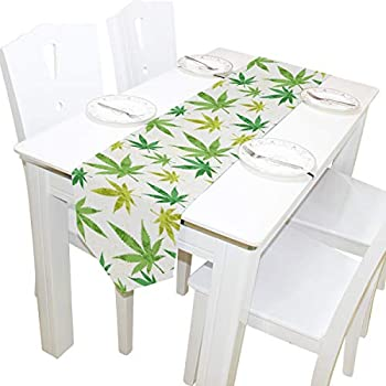 Amazon.com: Camino de mesa de doble cara con hojas de ...