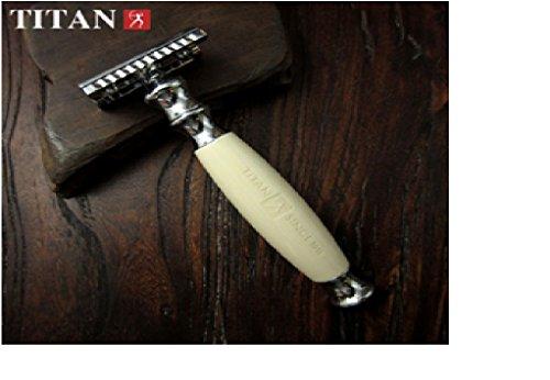 Safety Razor - Titan T style. Classic White Handle. Fast Shipping WM00026