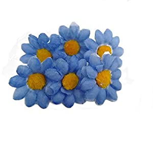 Fabric Daisy Flower Heads,100Pcs Artificial Gerbera Daisy Fake Flowers Heads Sunflower for Easter Bonnet DIY Cake,Wedding Party Decorations Flowers Craft 34