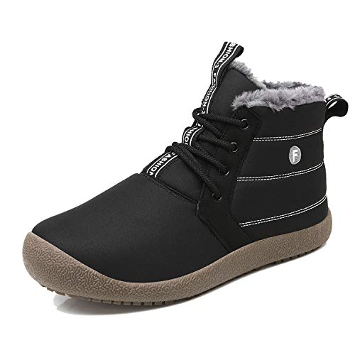 EXEBLUE Men Winter Snow Boots Lace Up Water Resistant Booties Anti-Slip Lightweight Ankle Boots with Full Fur Black