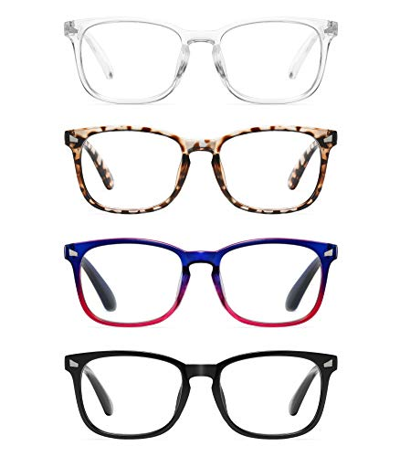 CCVOO 4 Pack Blue Light Blocking Reading Glasses, Anti Headache/Glare/Eye Strain Readers Computer Eyeglasses Women/Men…