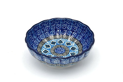 Polish Pottery Bowl - Shallow Scalloped - Small - Aztec Sky