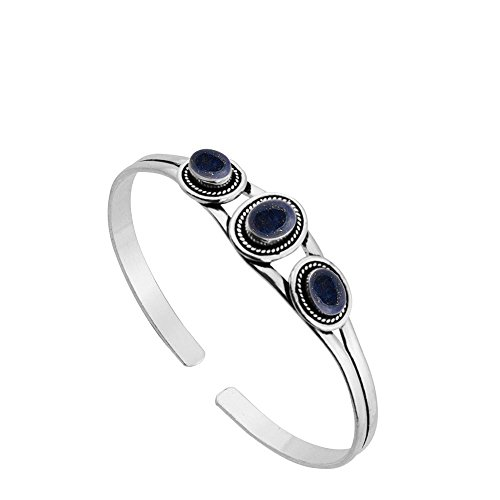 (Sterling Silver Jewelry 5.45ct, Genuine Lapis & 925 Silver Plated Bangle)