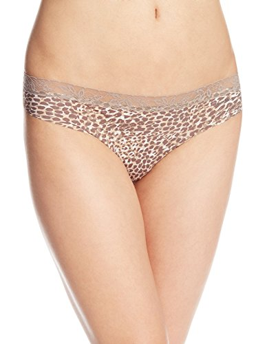 Calvin Klein Women's Invisibles with Lace Thong Panty, Layered Leopard Print, (Leopard Thong Panty)