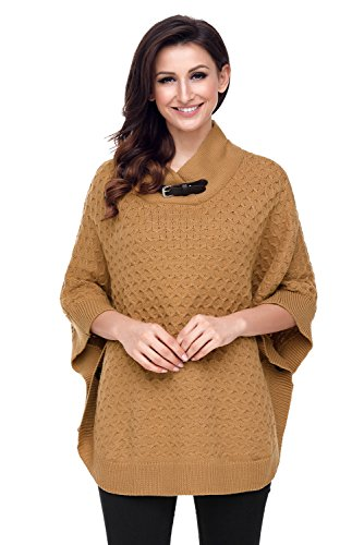 Lucklovell Women High Neck Waffle Knit Poncho ((US 4-6)S, (Neck Waffle)