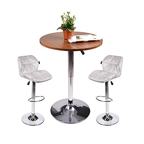 PULUOMIS White Flannel Bar stools Set of 3 with Round PubTable,Bar Chair with Back for Kitchen Home Dining Room, Brwon Bar Table