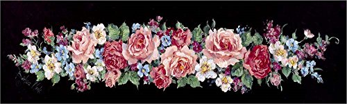 Great Art Now Roses on Black Panel by Barbara Mock Laminated Art Print, 50 x 15 inches Barbara Mock Roses