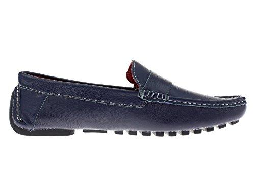 Natazzi Mens Air Grant Canoa Scarpe In Pelle Originale Slip-on Driving Mocassino Blu Scuro