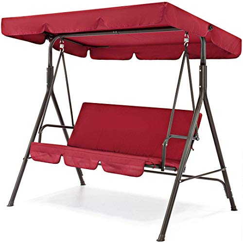 koonlert14 Porch Patio 2 Person Swing Hammock Cushion Seat Sturdy Powder-Coated Finish Steel Frame W/Canopy Top Outdoor Decor Furniture - Burgundy #1911 (Uk Furniture For Waterproof Outdoor Cushions)