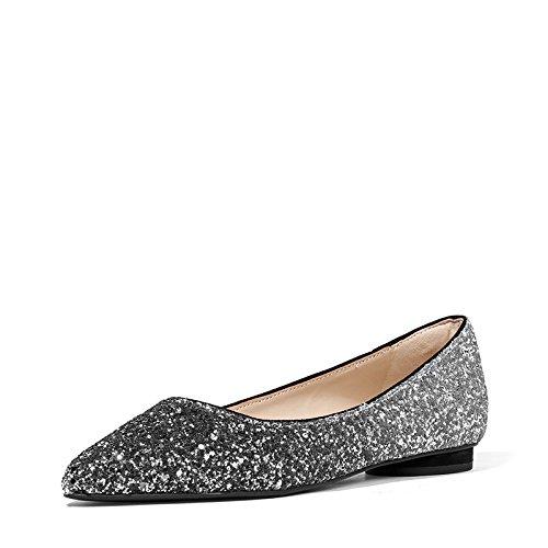 Shoes expuesto nuevos con 60580071 zapatos de tacón yalanshop alta lado Heel banquete plana de fina punta alto Los plata Base 1 p8gqwx1