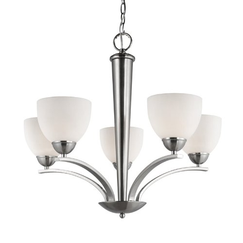 (Woodbridge Lighting 13015STN-C20601 26-1/-2-Inch by 23-1/2-Inch North Bay 5-Light Chandelier, Satin Nickel)
