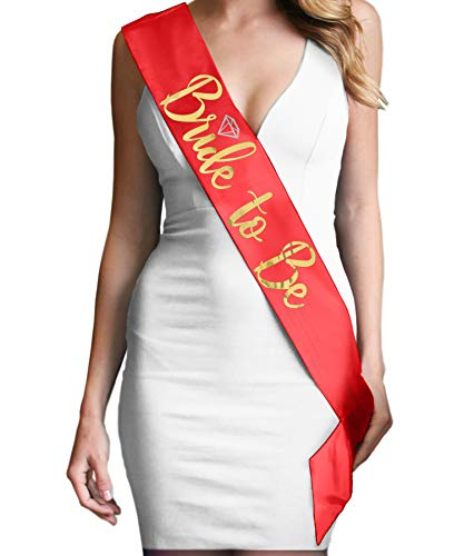 Red Bride Sash - Metallic Gold Luxury Bride To Be with Diamond Bridal Sash - Bachelorette Party Decorations Red Sash(B2BDiam Gld) RED -