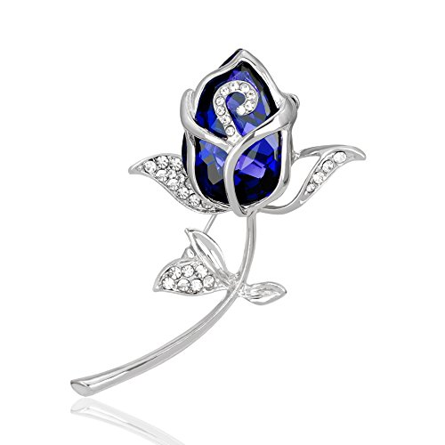 Crystal Rose Flower Brooch Pin Rhinestone Alloy Rose Gold Brooches Birthday Gift Garment Accessories (blue)