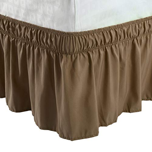 (PiccoCasa Detachable Bed Skirt Wrap Around Three Fabric Sides Elastic Dust Ruffle, Easy Fit Wrinkle - with 15 Inch Drop Brown, Queen Size(80-Inch-by-60-Inch))