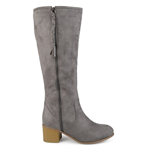 Brinley Co Womens Regular and Wide Calf Faux Suede Mid-Calf Stacked Wood Heel Boots Grey
