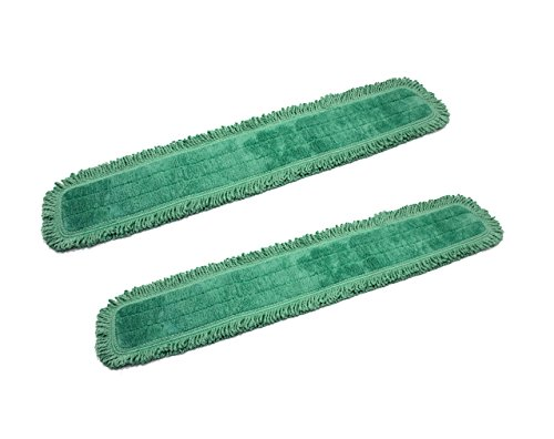 Real Clean 36 Inch Green Fringe Microfiber Dust Mop Pads (Pack of 2)