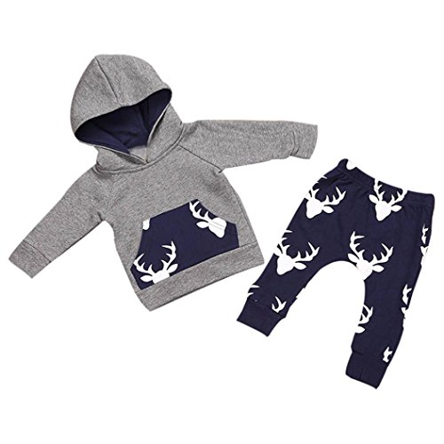 Efaster Cute Baby Boy Girl Clothes Deer Pattern Hooded Top Jacket Pants Outfits - Blends Pattern Deer Cotton