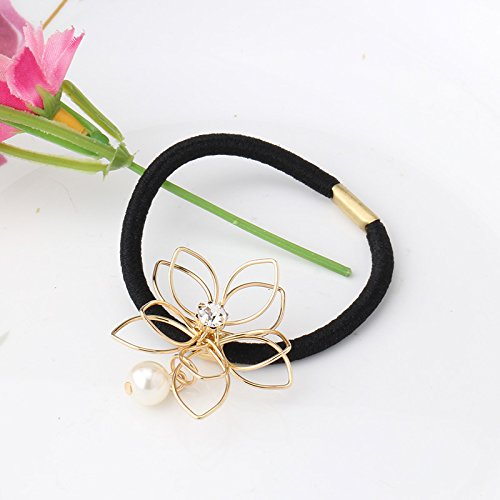 Pyrsun(TM) Metal Headband Floral Hair Accessories For Female Rhinestone Rubber Rope Crystal Gum For Hair Women Pearl Elastic Hair Bands
