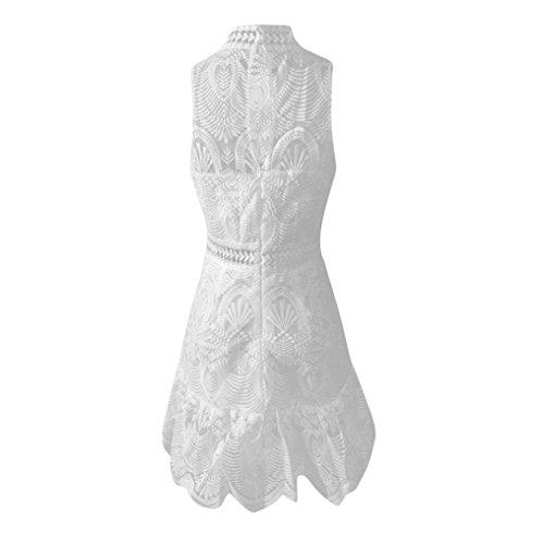 Estivo Vestito ❤️ Vestito Spiaggia Donna Pizzo da in da Sera Bianco Donna da Spalle Abito Senza Estivo JiaMeng da Vestito gF5Pxpp