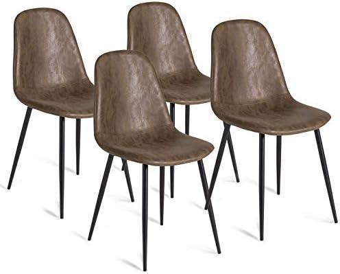 IDMarket Set di 4 sedie Vintage Dali Marrone per Sala da