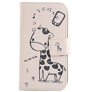 Lankashi Leather Cover Skin Protection Case for Samsung Galaxy S Advance I9070 Giraffe Design