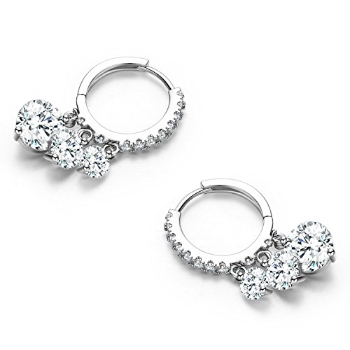 SBLING Platinum Plated Cubic Zirconia Drop Earrings (6 cttw)