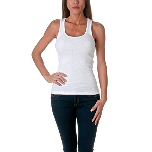 Sofra Women's Tank Top Cotton Ribbed White Small
