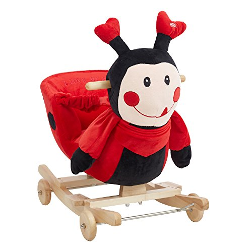 - Dporticus Child Rocking Horse Plush Ladybug Rocker Toy with Wheels and Seat Belt Wooden Rocking Horse/Kid Rocking Toy/Baby Rocking Horse/Rocker/Animal Ride On