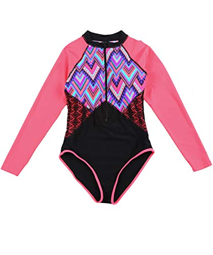 - Women UV Sun Protection Long Sleeve Rash Guard Wetsuit Swimsuit One Piece Floral Printed Swimwear